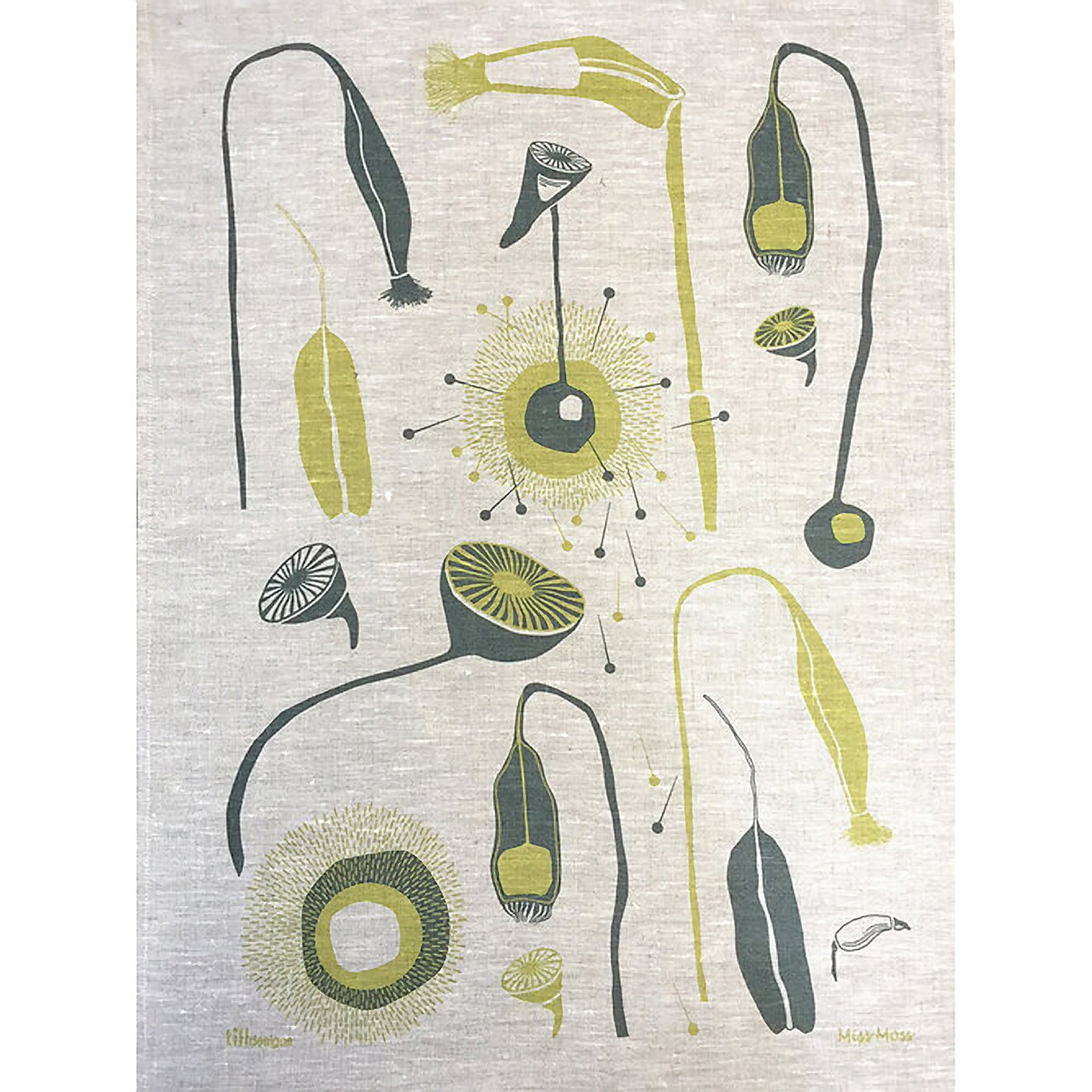 Till Designs - Tea Towel - Miss Moss - Green