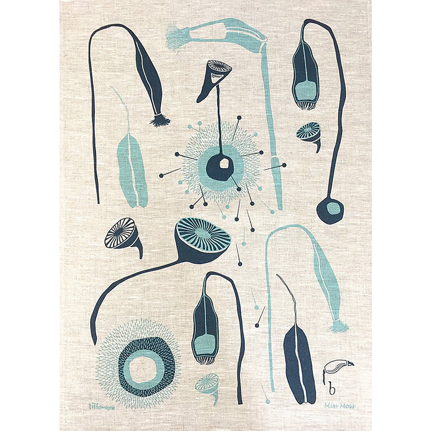 Till Designs - Tea Towel - Miss Moss - Blue