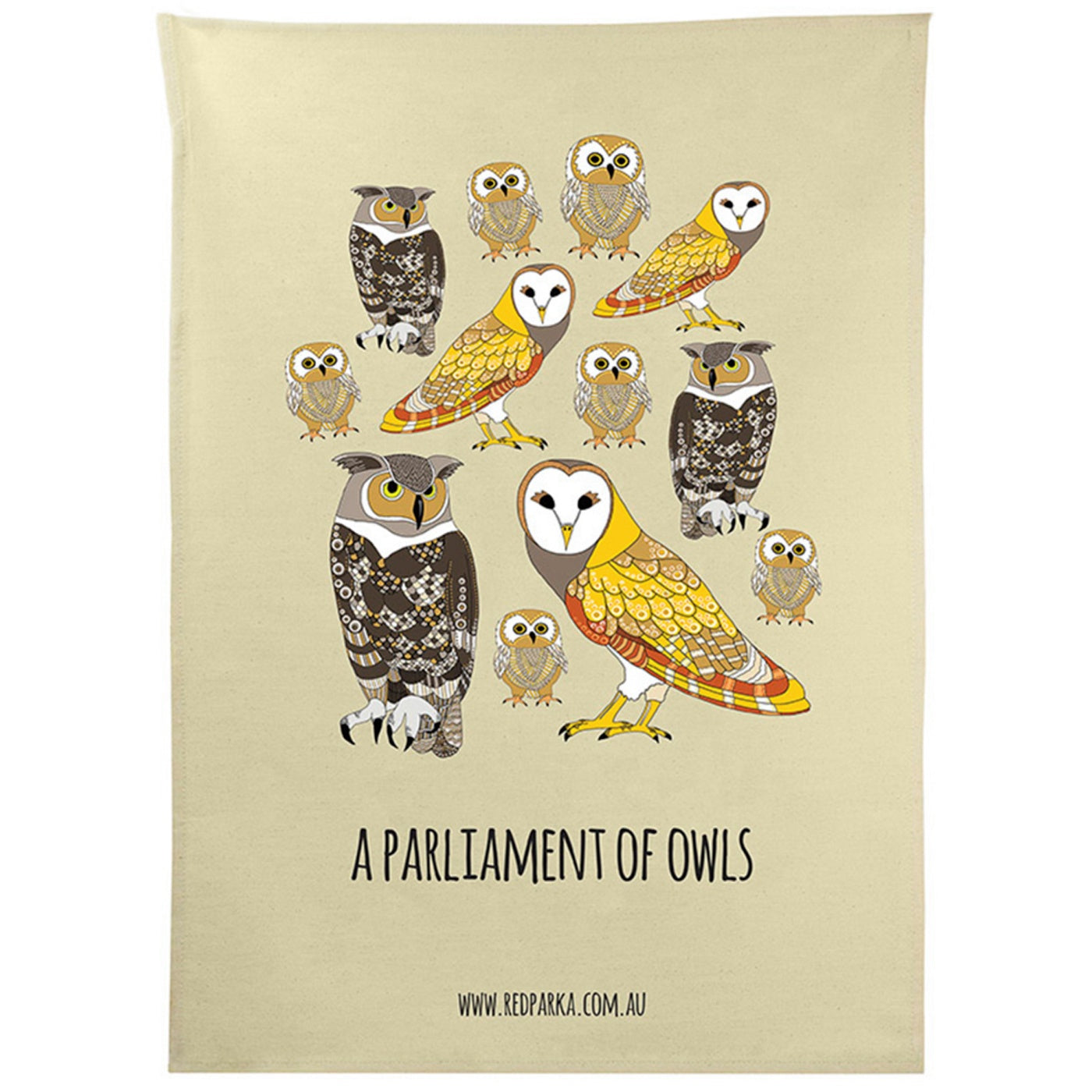 Red Parka – Tea Towel – A Parliament of Owls