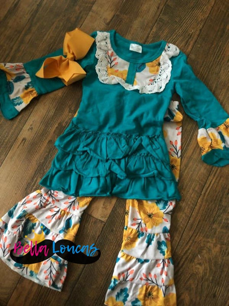 3 Piece Sunflower Bell Bottom Set - 12-18M - Three Piece Set