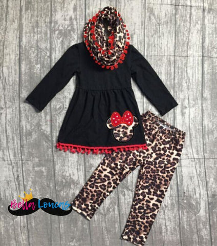 Black Leopard Minnie Pom Pom Scarf Set - 2T