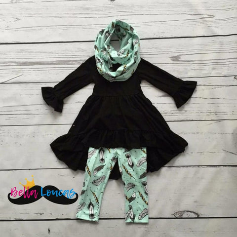 Black & Mint Feather Set - 2T