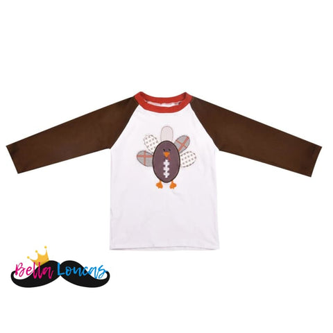 Boys Football Turkey Thanksgiving Long Sleeve Tee