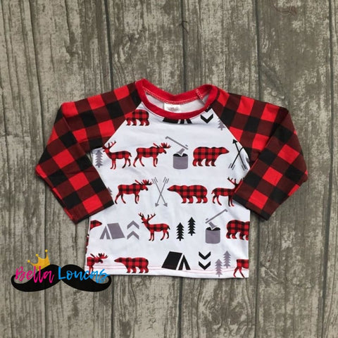 Boys Moose & Bear Plaid Long Sleeve Tee