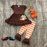 Brown & Orange Ruffle Thanksgiving Set - 2T