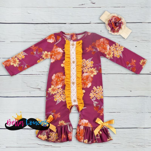 Burgundy And Mustard Floral Fall Romper Set