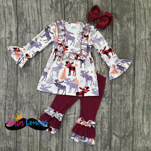 Burgundy & Gray Fall Moose Set - 2T