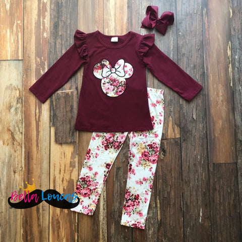 Burgundy Minnie Floral Fall Set - 2T