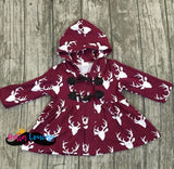 Fall Deer Print Coat - Burgundy / 2T - Jacket