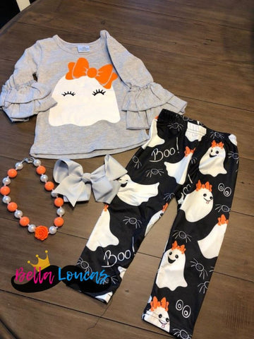 Halloween Bow Ghost Set - 2T