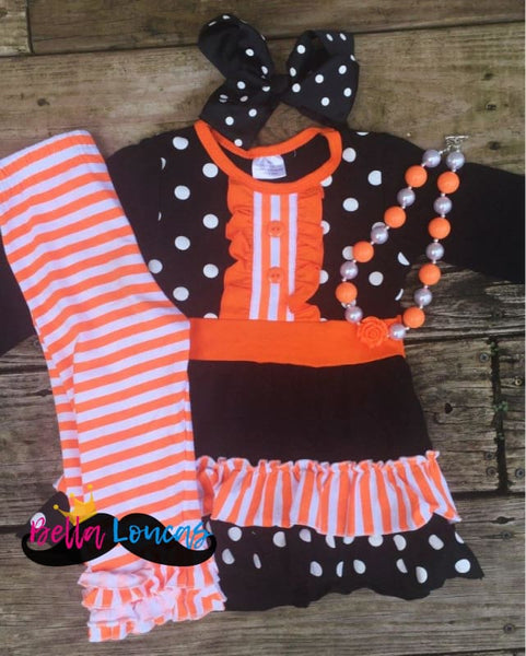 Halloween Striped Ruffle Set