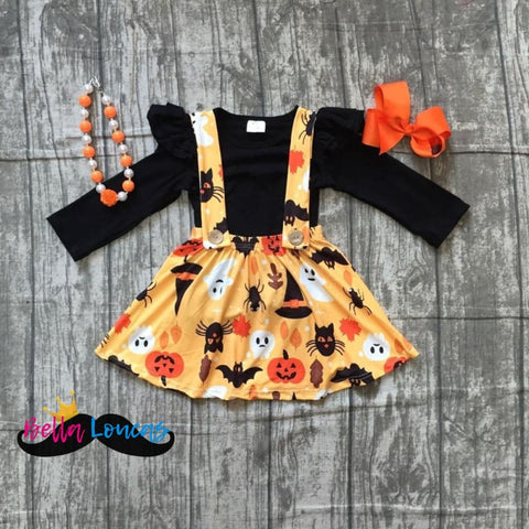 Halloween Suspender Skirt Set - 2T
