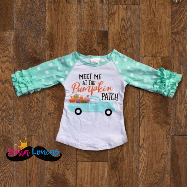 Meet Me At The Pumpkin Patch Icing Raglan - Teal