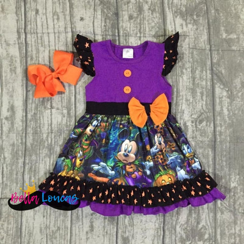 Mickey Halloween Purple Dress Set - 2T