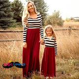 Mom & Me B&w Striped Long Sleeve Dresses - Mom And Me Dress