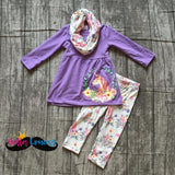 Purple Unicorn Scarf Set - 2T