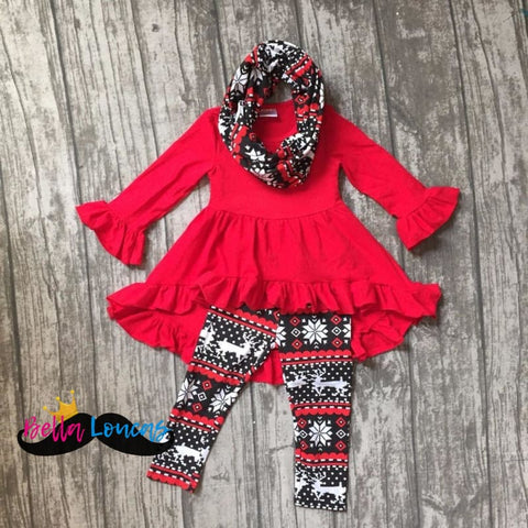Red Holiday Scarf Set - 2T