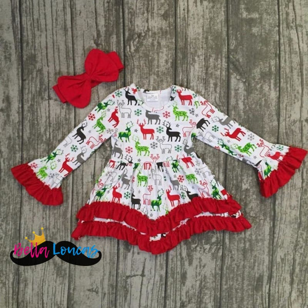 Ruffle Christmas Dress Set