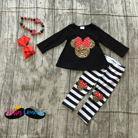 Striped Leopard Minnie Set - 2T