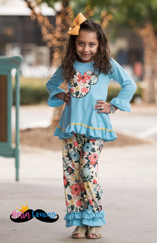 Turquoise & Floral Minnie Boutique 3Pc Set