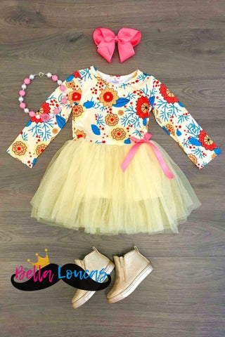 Yellow Tutu Floral Dress