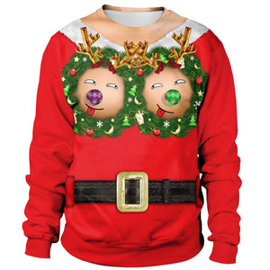 Xmas Fun Boobs Print Funny Ugly Women Christmas Long Sleeve Sweater Sweatshirt