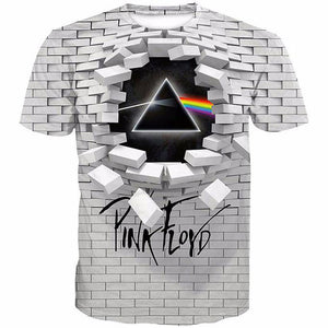 Big and Tall 3D Pink Floyd The Dark Side Of The Moon The Wall Print Men Short Sleeve T-shirt Tee Tops