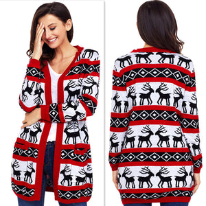 Christmas Reindeer Graphic Tunic Knitted Draped Cardigan Sweater Knitwear