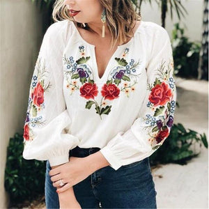 Handmade Embroidered Floral Long Sleeve Loose V-Neck Shirt