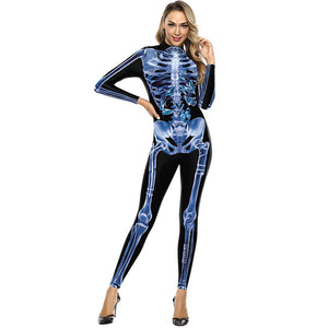 3D Human Skeleton Funny Print Bodycon Stretch Women Suit Jumpsuits Leggings Pajamas Onesie Playsuit