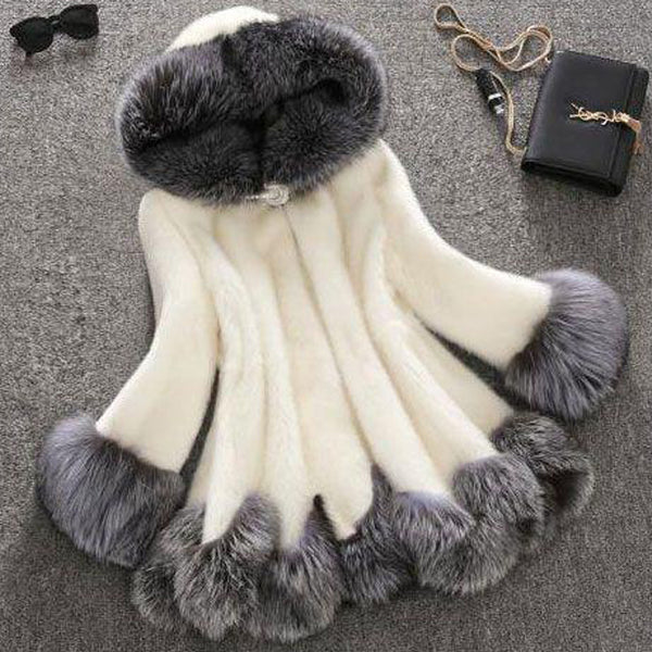 Faux Fur Luxury Women Thicken Warm Fluffy Winter Hooded Coat Jacket Outerwear Poncho Overcoat
