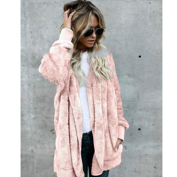 Warm Long Sleeve Thick Hooded Open Stitch Cardigan Coat