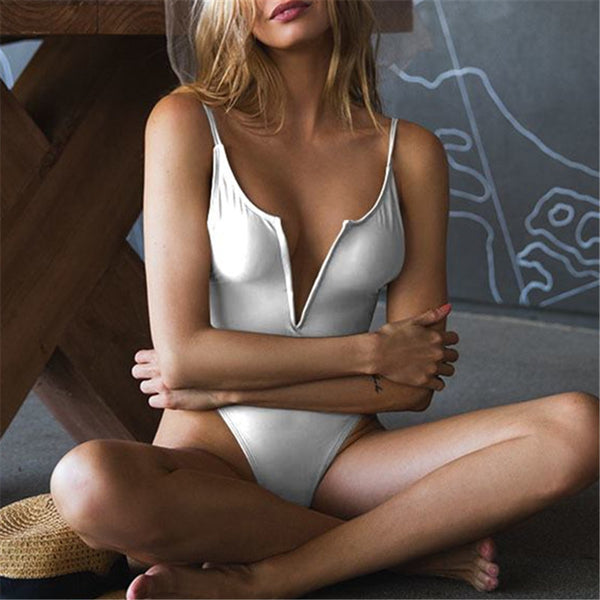 Sexy Open Back V-Neck One Piece Swimsuit