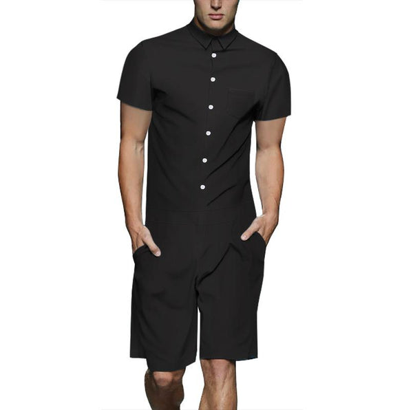 Men's Black Color Casual Short Sleeve Shirt One Piece Romper