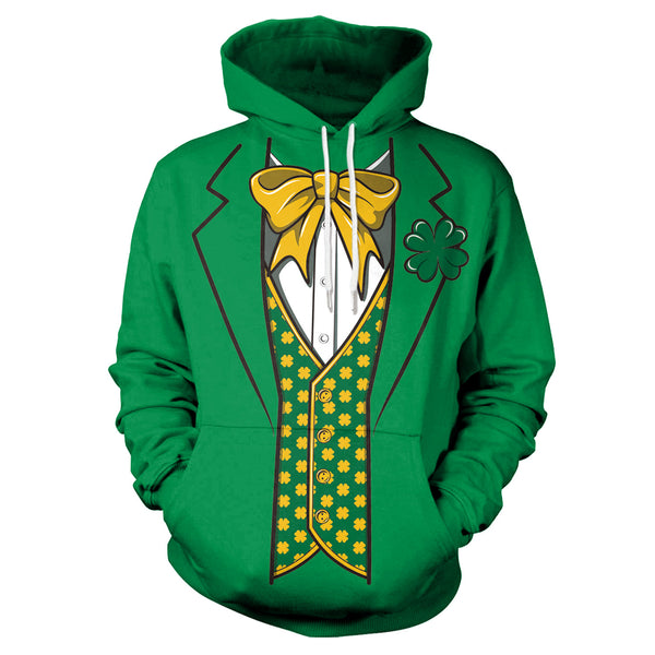 3D St. Patrick's Day Four-leaf Clovers Bow Tie Print Shamrock Shirt Hoodie Sweatshirt Jacket
