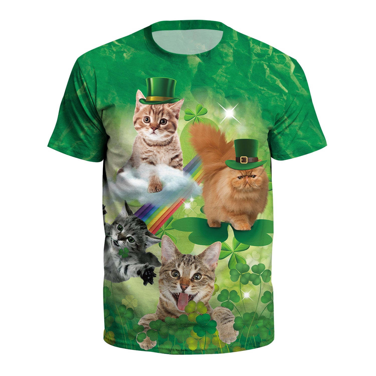 3D St. Patrick's Day Cute Cat Print Shamrock Green T-shirt  Tee Tops