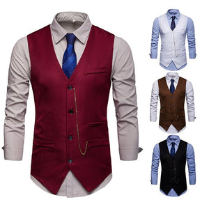 Men's Vest with  Jewelry Suit Vest Waistcoat