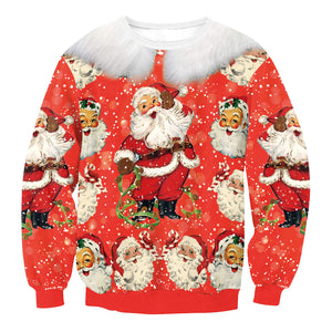 Santa Claus Digital Printed Round Neck Long Sleeve Sweatshirt