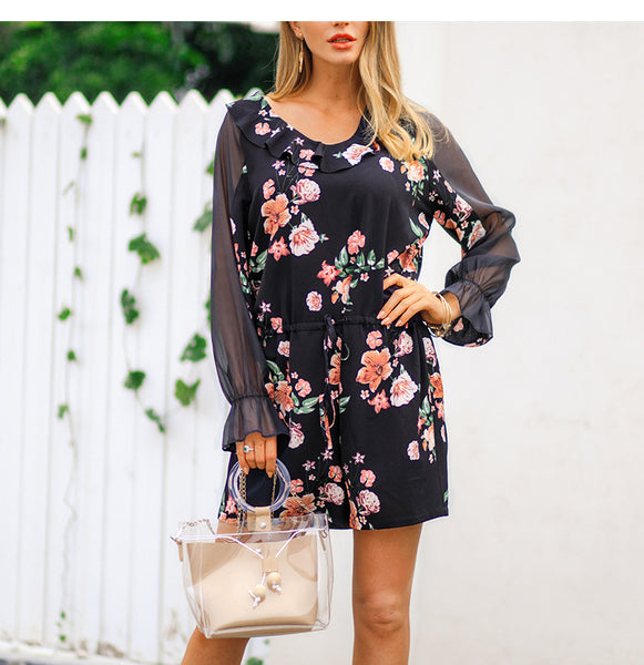 Mesh Patchwork Floral Print Women Playsuit