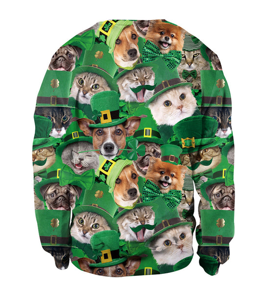 3D St. Patrick's Day 2020 Cute Dog Cat Print Long Sleeve Green Shirt Sweatshirt For Women Men