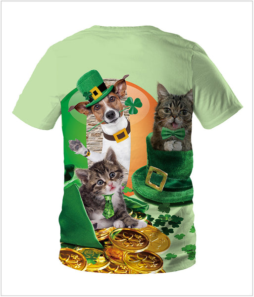 3D St. Patrick's Day Shamrocks Cute Cat Print T-shirt Tee Tops