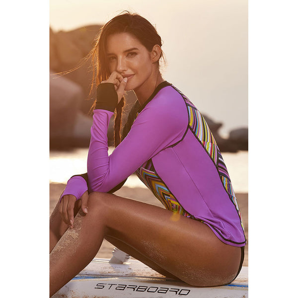 Surf Suit Diving Suit Printed Long-sleeved Large Size Swim Top