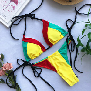 High Cut Contrast Piping Bikini Set