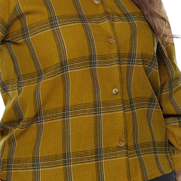 Plus Size V-neck Plaid Print Top