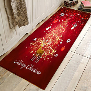 Christmas Door kitchen Bathroom Absorbent Floor Mats Anti-Slip