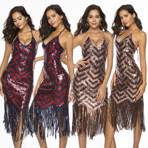 Sleeveless Sequin Sheath Tassel Dress