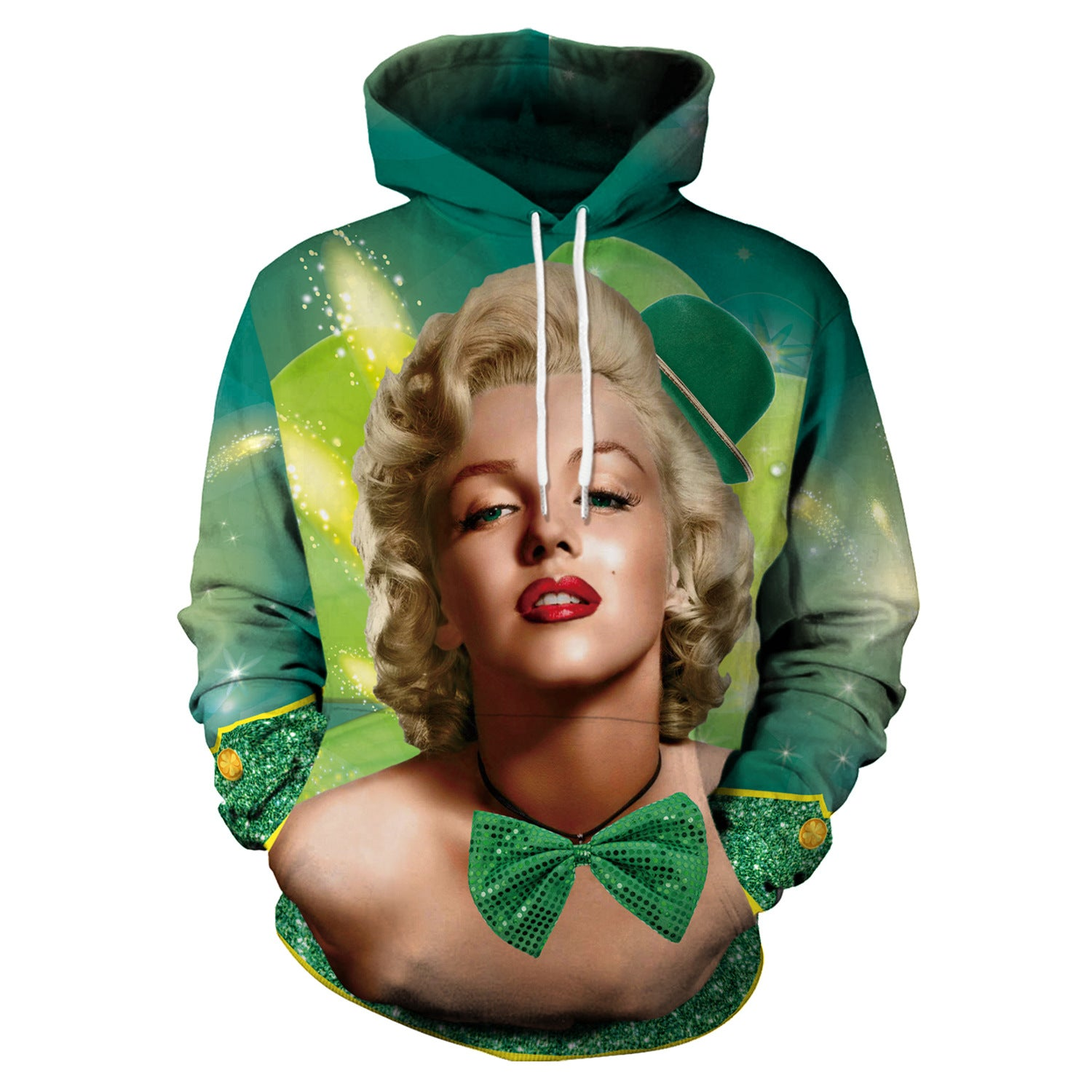 3D St. Patrick's Day Four-leaf Clovers Print Shamrock Shirt Hoodie Sweatshirt Jacket