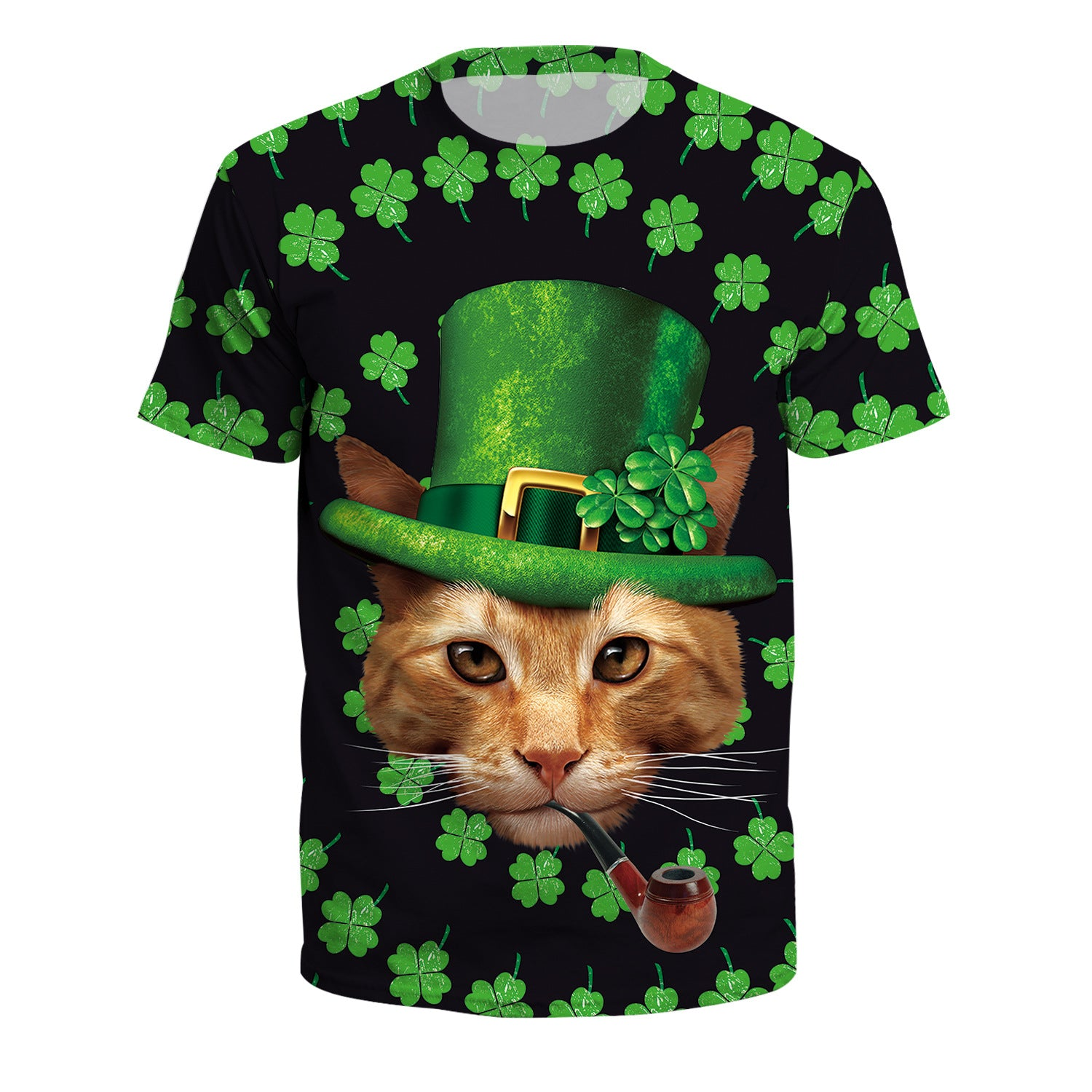 3D St. Patrick's Day Four-leaf Clovers Cat Print Shamrock Green T-shirt  Tee Tops