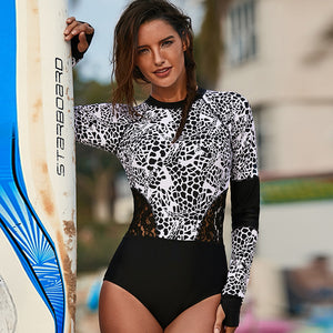 Print Long Sleeve Wetsuit and Surfing Swimsuit