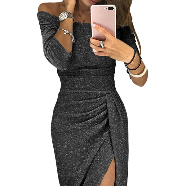 Sexy Off Shoulder Cropped Sleeves Flash Dress